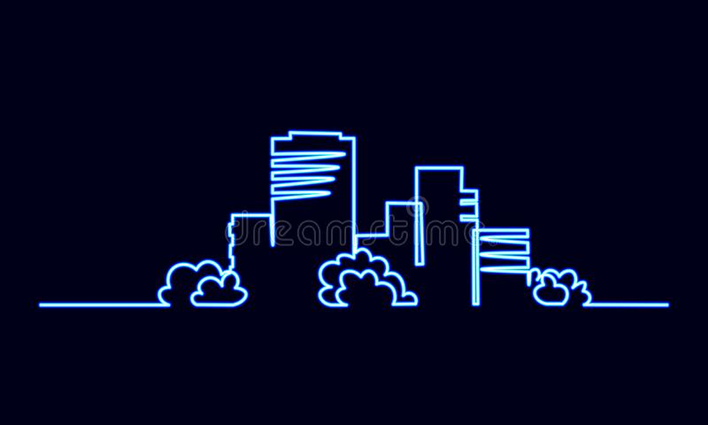 Neonowego znaka kreskowej sztuki miasta budynku pojedyncza ciągła jeden budowa Architektury mieszkania domowy miastowy pejzaż mie ilustracji