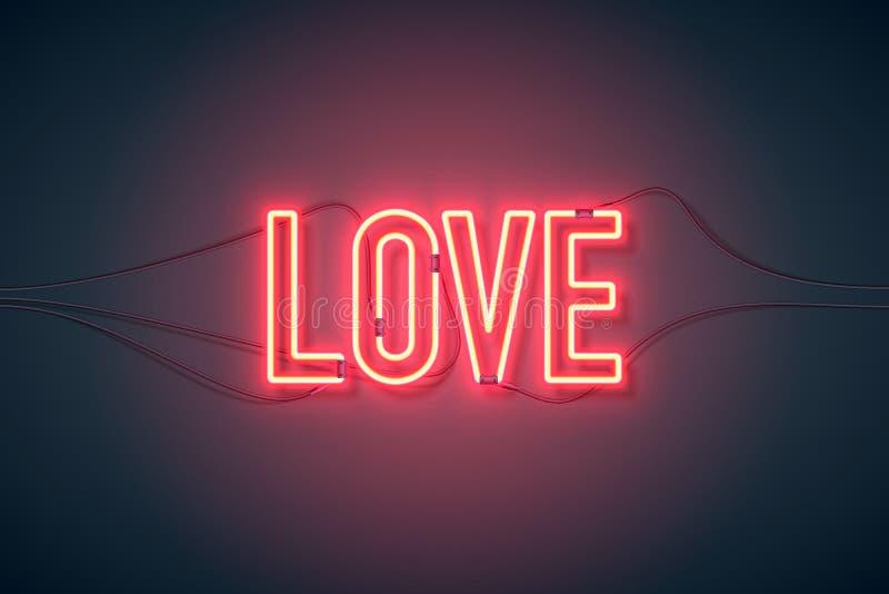 Neonowego znaka miłość szeroka royalty ilustracja