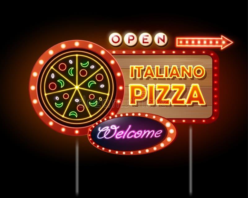 Neonowego znaka pizza ilustracja wektor