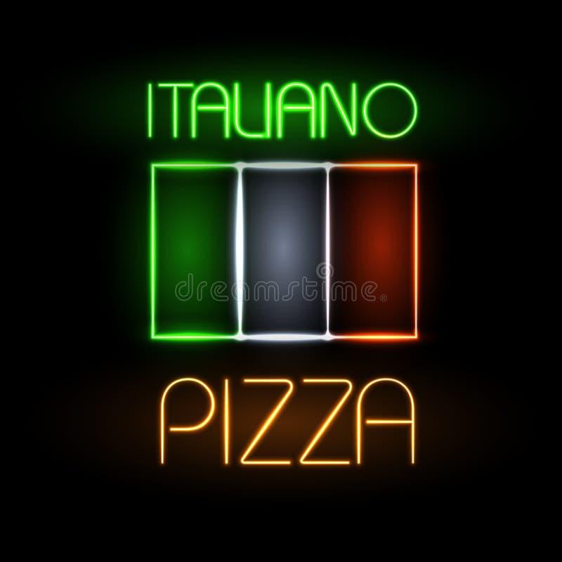 Neonowego znaka pizza ilustracji