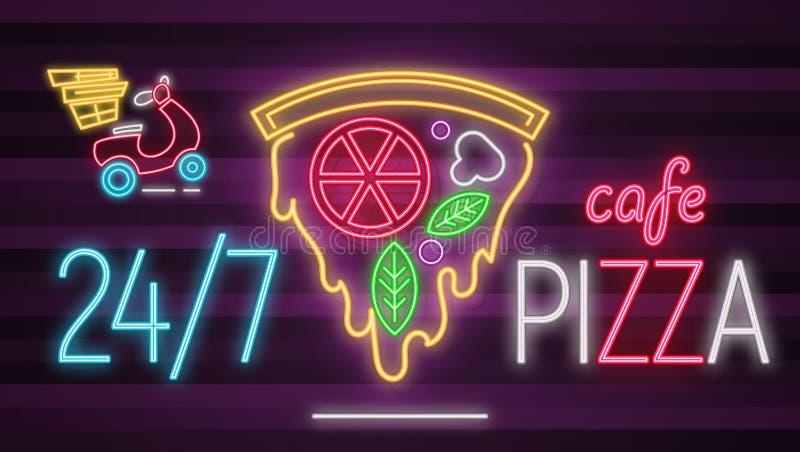 Neonowego znaka pizzy kawiarnia royalty ilustracja