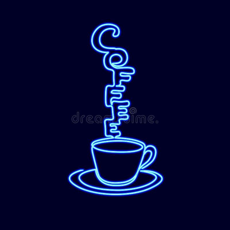 Neonowego znaka pojedyncza ciągła kreskowa sztuka Filiżanki herbacianej filiżanki ranku napoju sylwetki pojęcia projekta jeden cu royalty ilustracja