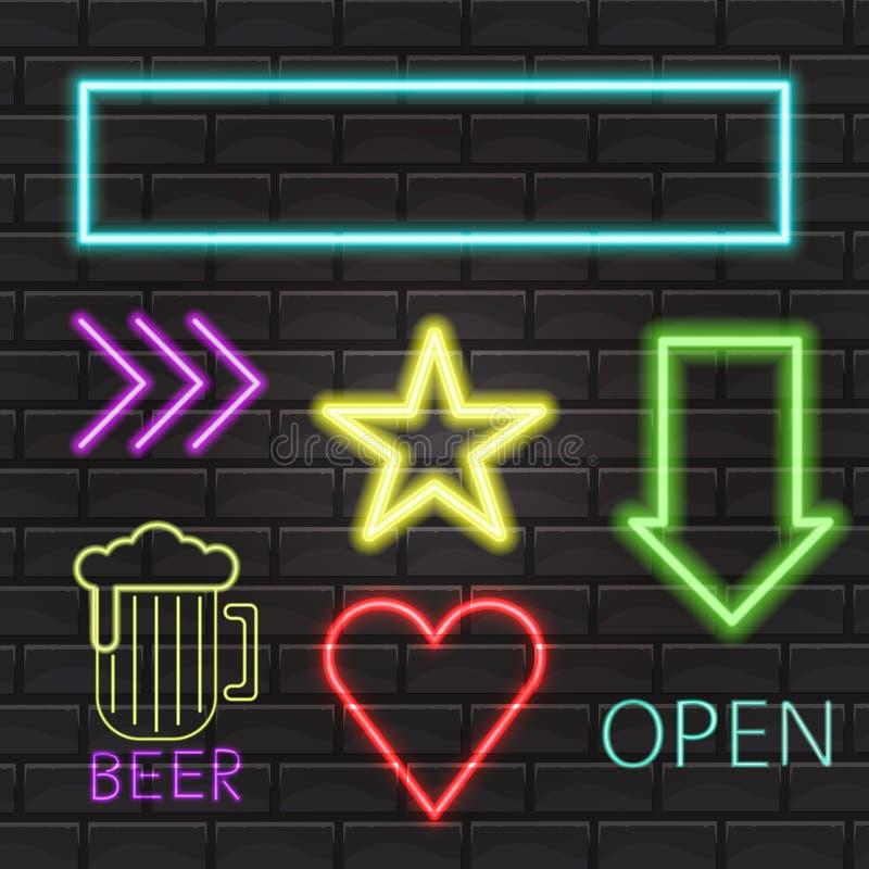 Neonowego znaka signboard światła jaskrawy sztandar iluminował wektorowe ikony Jarzeniowa elektryczna nocy lampy dekoracja ilustracja wektor