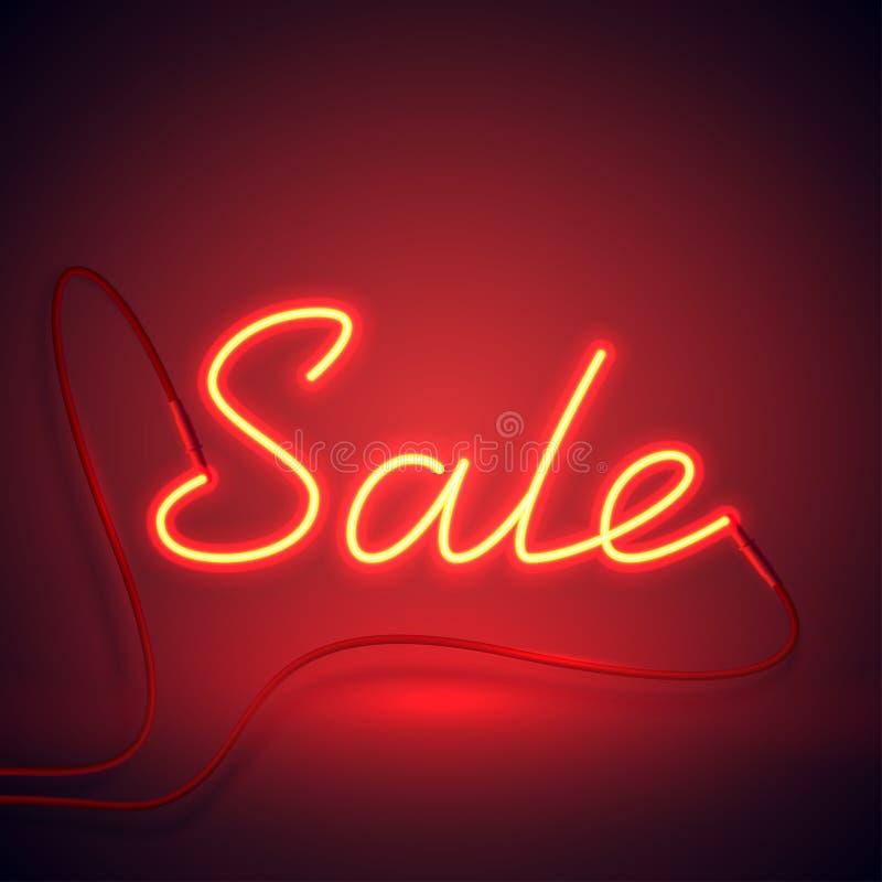 Neonowego znaka sprzedaż czerwona i pomarańcze color-01 royalty ilustracja