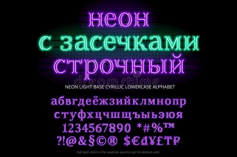 Neonowej tubki abecadła typeface Neonowy z serifs lowercase liczby, specjalni symbole, charaktery i waluta znak, baza royalty ilustracja