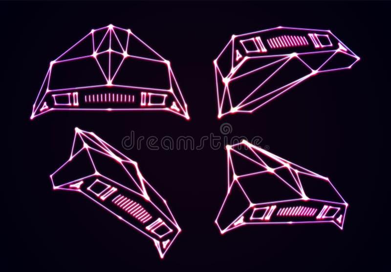 Neonowi astronautyczni statki ustawiający napadanie najeźdźc wojownicy z 80s arkady gry retro stylem i laserowym geometrycznym ko ilustracji