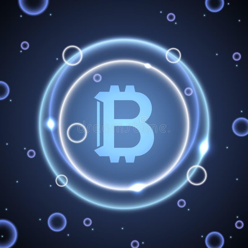 Neonowi okręgi z bitcoin znakiem Abstrakcjonistyczny jaskrawy neonowy tło z bitcoin ilustracji