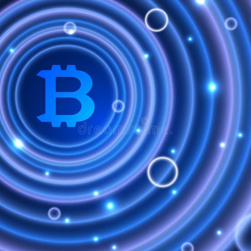 Neonowi okręgi z bitcoin znakiem Abstrakcjonistyczny jaskrawy neonowy tło z bitcoin ilustracja wektor