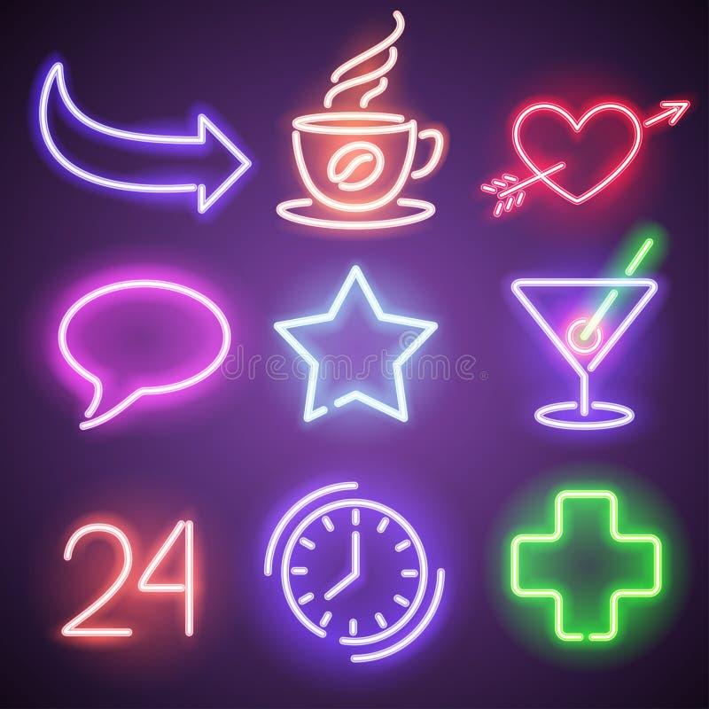 Neonowi symbole i elementy ilustracja wektor