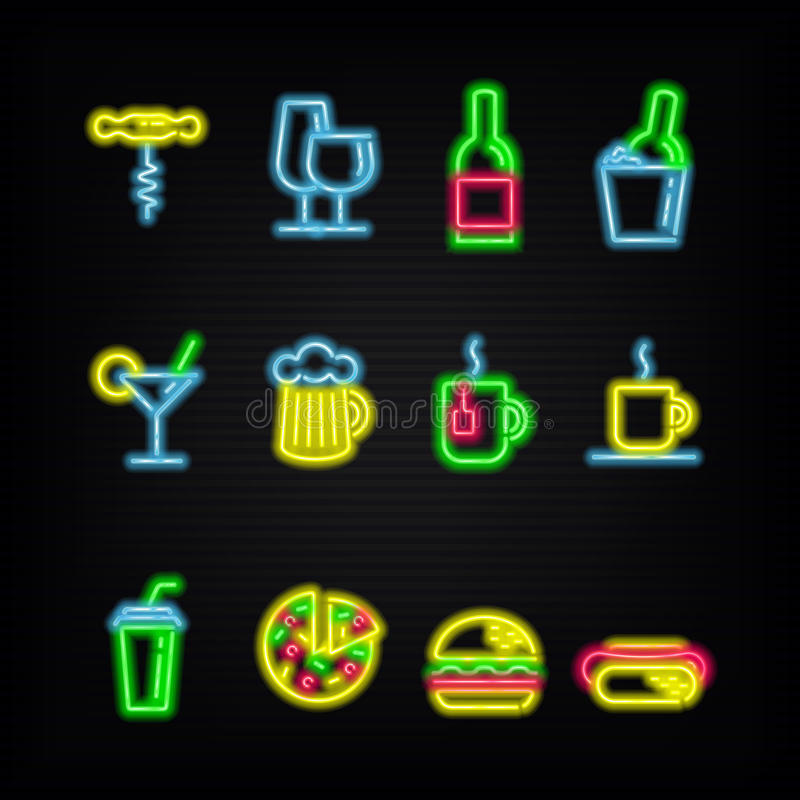 Neonowi symbole różni napoje i fast food ilustracja wektor