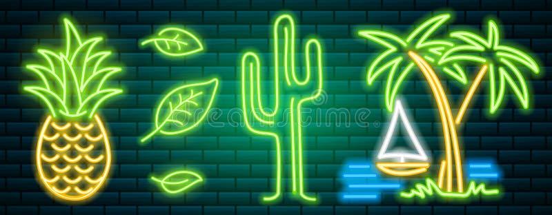 Neonowi znaki i ikony Kaktus, ananas, tropikalne rośliny, drzewka palmowe i liście, Set nocy jaskrawy signboard royalty ilustracja