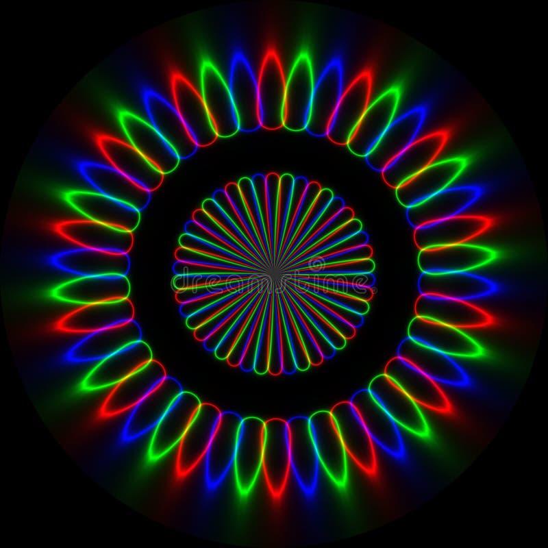 Neonowy abstrakcjonistyczny round ornament w rgb kolorach ilustracja wektor