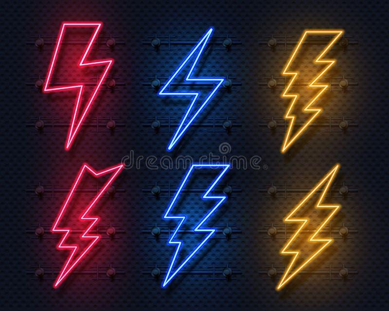 Neonowy błyskawicowy rygiel Rozjarzony elektryczny błysku znak, piorun elektryczności władzy ikony Wektorowa błyskawica na czerni ilustracja wektor