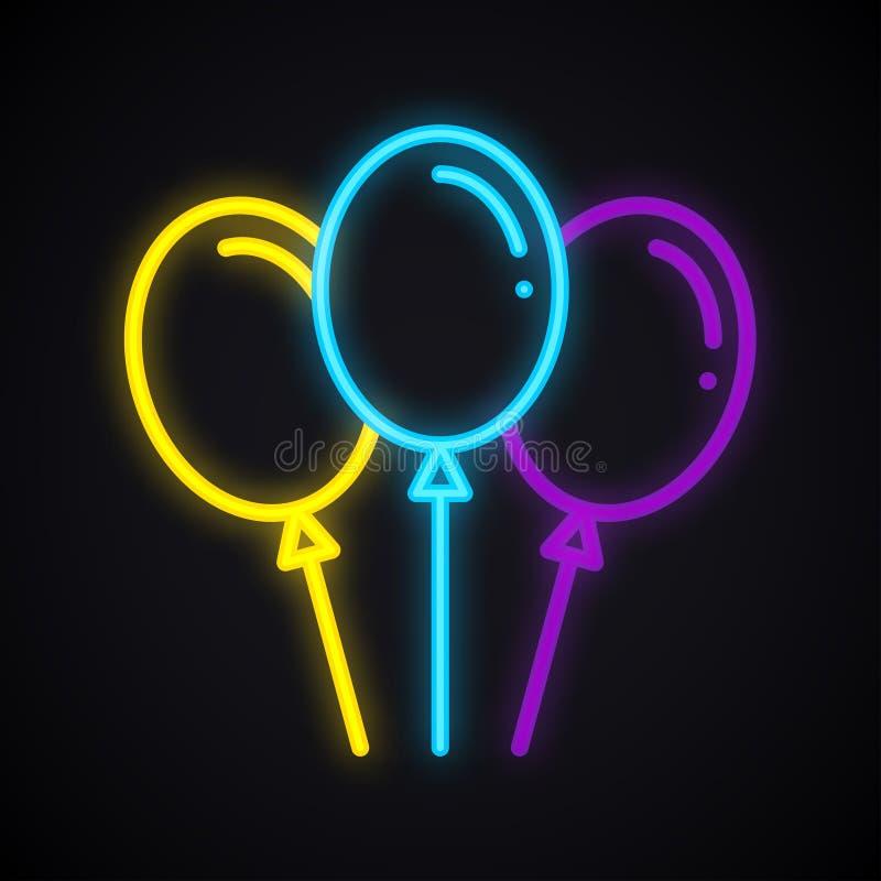 Neonowy balonu znak Rozjarzony lotniczego balonu symbol ilustracji
