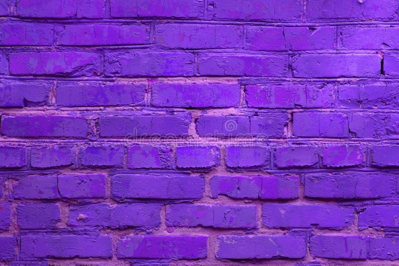 Neonowy barwiony ściany z cegieł tło Horyzontalny stonowany tło zdjęcia stock