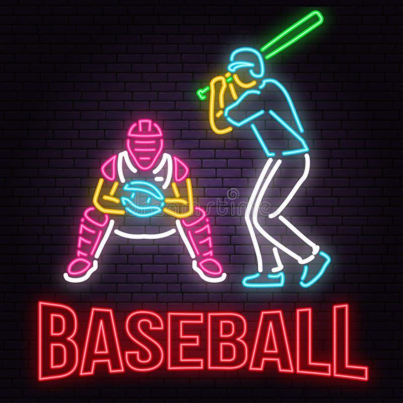 Neonowy baseballa lub softballa znak na ściana z cegieł tle również zwrócić corel ilustracji wektora royalty ilustracja