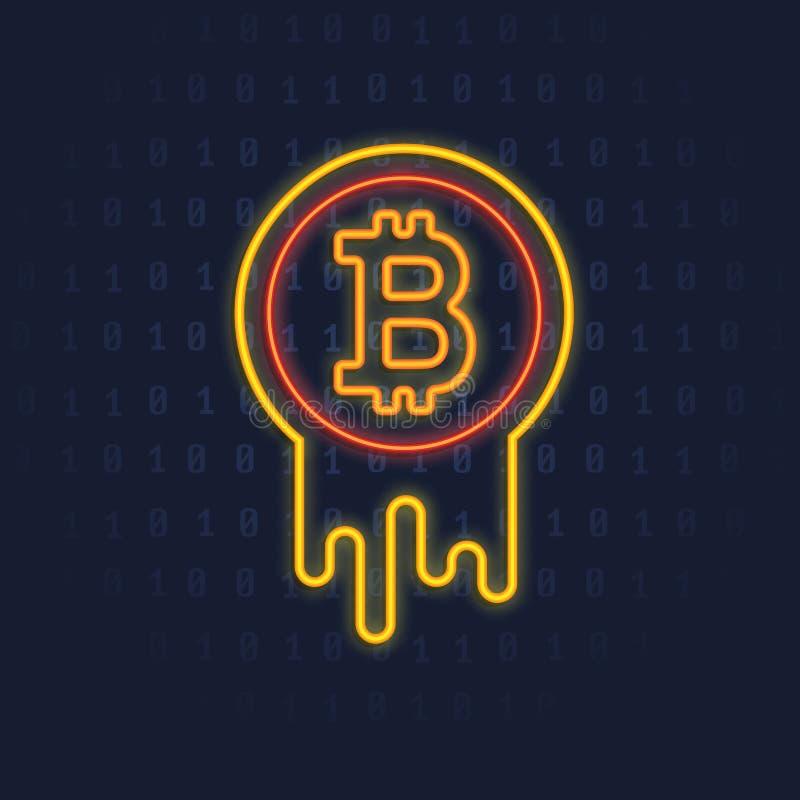 Neonowy Bitcoin logo Crypto waluta iluminujący rozjarzony ikona znak ilustracji