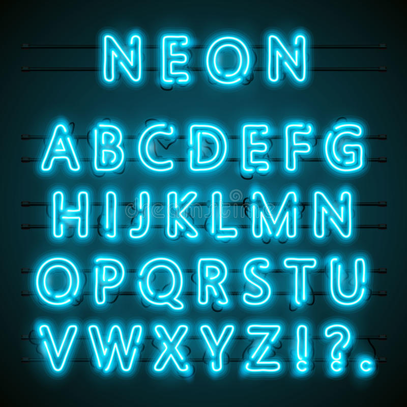 Neonowy chrzcielnica tekst błękitna angielska lampa alfabet również zwrócić corel ilustracji wektora ilustracja wektor