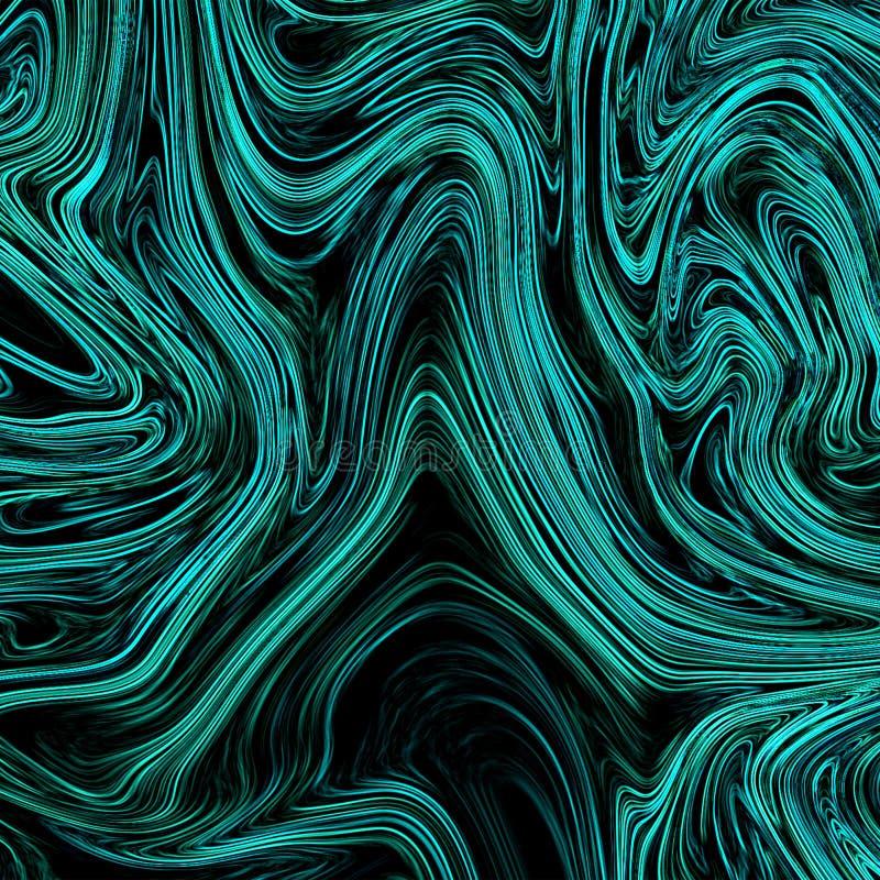 Neonowy cyan abstrakcjonistyczny tło z upłynnia przepływ ilustracja wektor