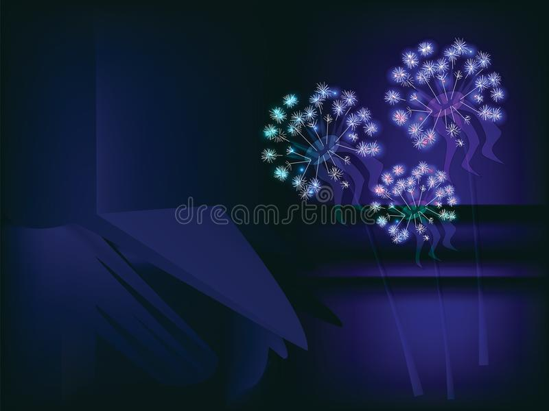 Neonowy dandelion tło ilustracja wektor