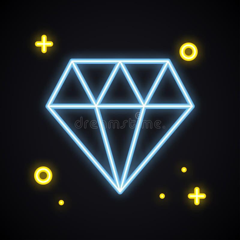 Neonowy diament, brylant podpisuje wewnątrz błękitnego kolor Jaskrawy klejnot Retro rozjarzony klejnot Lekki cenny kamień klejnot ilustracja wektor