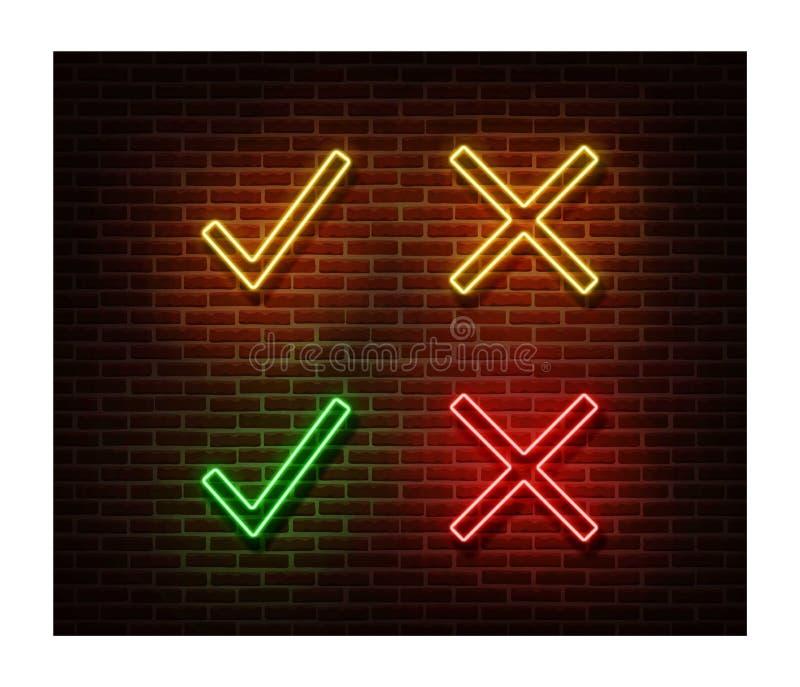 Neonowy dowód, zaprzeczający znaka wektor odizolowywającego na ścianie z cegieł Czeka światła symbol, dekoracja skutek neon ilustracji