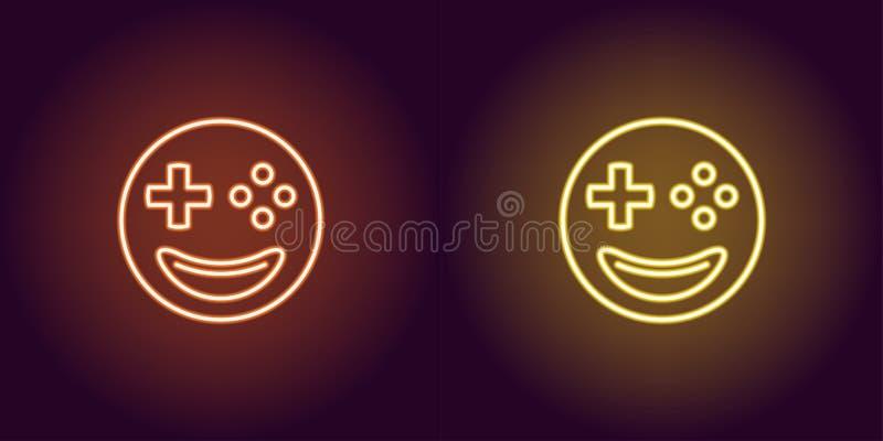 Neonowy emoji gamer, rozjarzony znak Wektorowa emoji ikona ilustracji