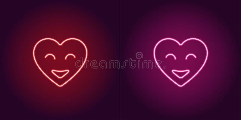 Neonowy emoji serce, rozjarzony serce z uśmiechem wektor royalty ilustracja