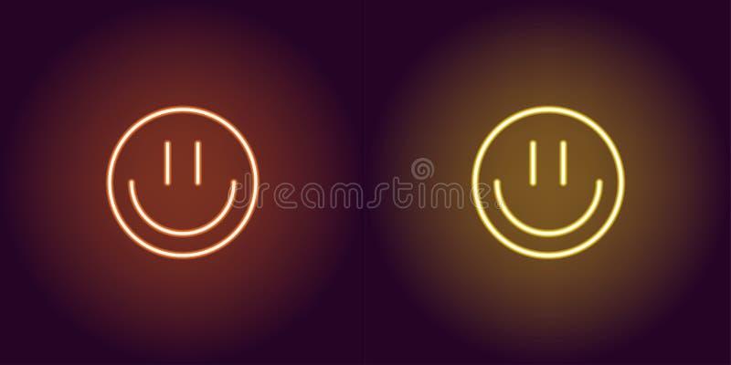 Neonowy emoji z uśmiechem, rozjarzony znak przygotowywa ikonę ilustracji