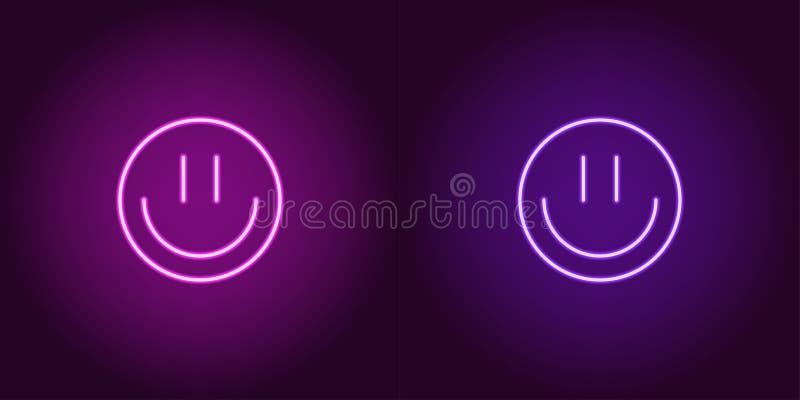 Neonowy emoji z uśmiechem, rozjarzony znak przygotowywa ikonę ilustracja wektor