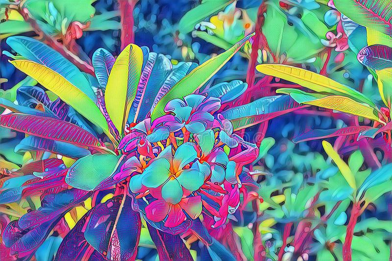 Neonowy frangipani kwiat w liściu Plumeria okwitnięcia psychodeliczna cyfrowa ilustracja Kwitnący tropikalny krzak zdjęcia royalty free