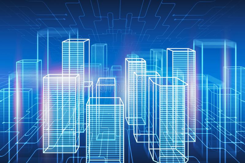 Neonowy futurystyczny cyfrowy miasto hologram royalty ilustracja