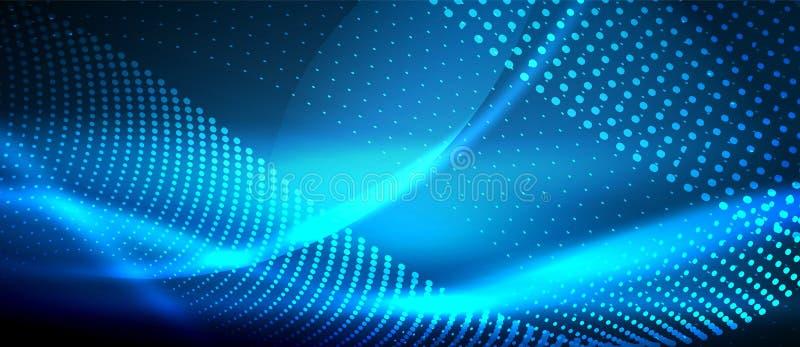 Neonowy gładzi falowego cyfrowego abstrakcjonistycznego tło ilustracja wektor