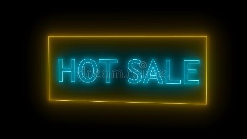 Neonowy gorący sprzedaż znak ilustracja wektor