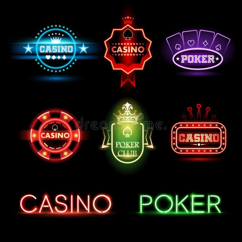 Neonowy grzebak i kasynowi emblematy ilustracja wektor
