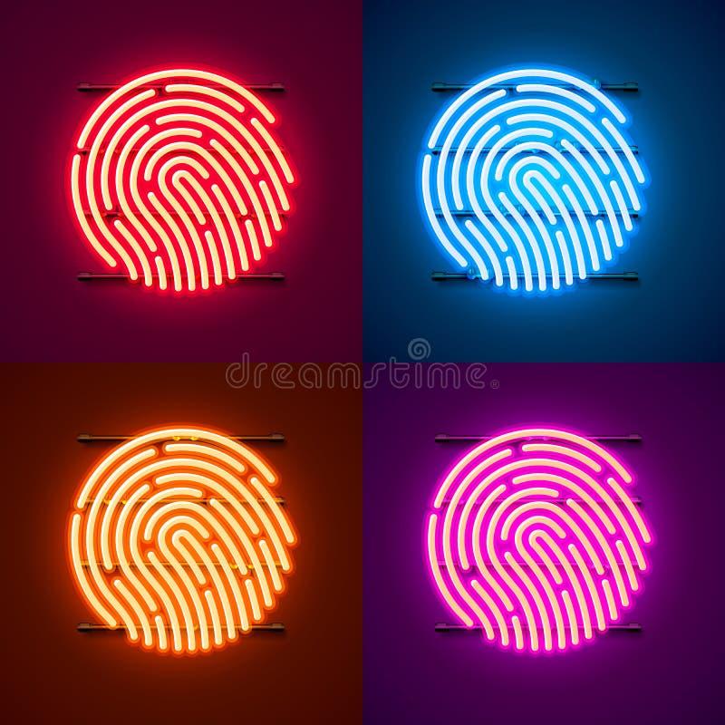 Neonowy hasło dotyka ID telefonu znaka koloru set ilustracja wektor