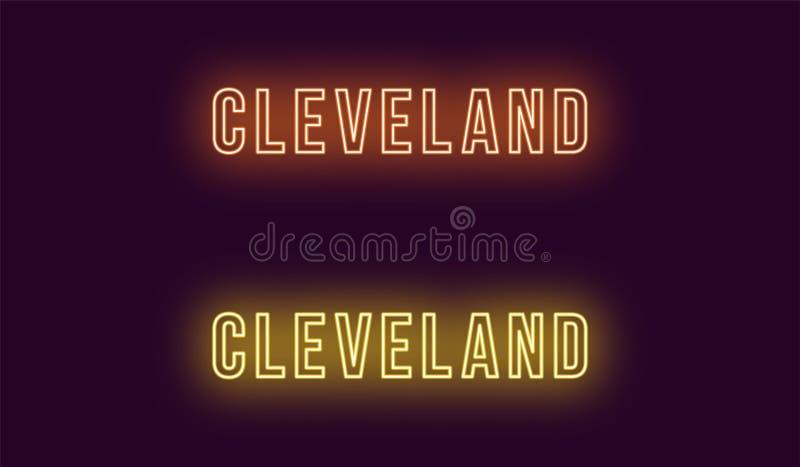 Neonowy imię Cleveland miasto w usa Wektorowy tekst ilustracja wektor