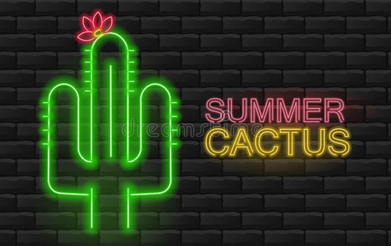 Neonowy kaktus, piękny zielony kaktus ilustracja wektor