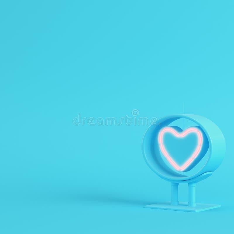 Neonowy kierowy kształt w ramie na jaskrawym błękitnym tle w pastelu co ilustracja wektor