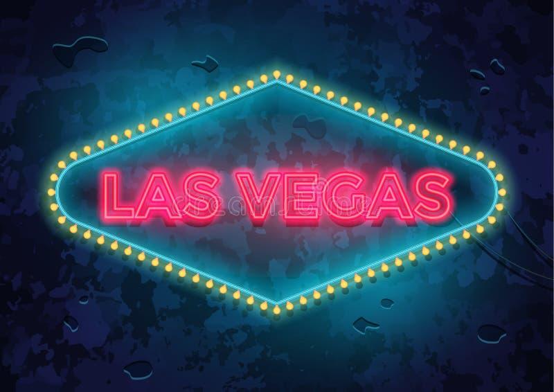 Neonowy Las Vegas znak royalty ilustracja