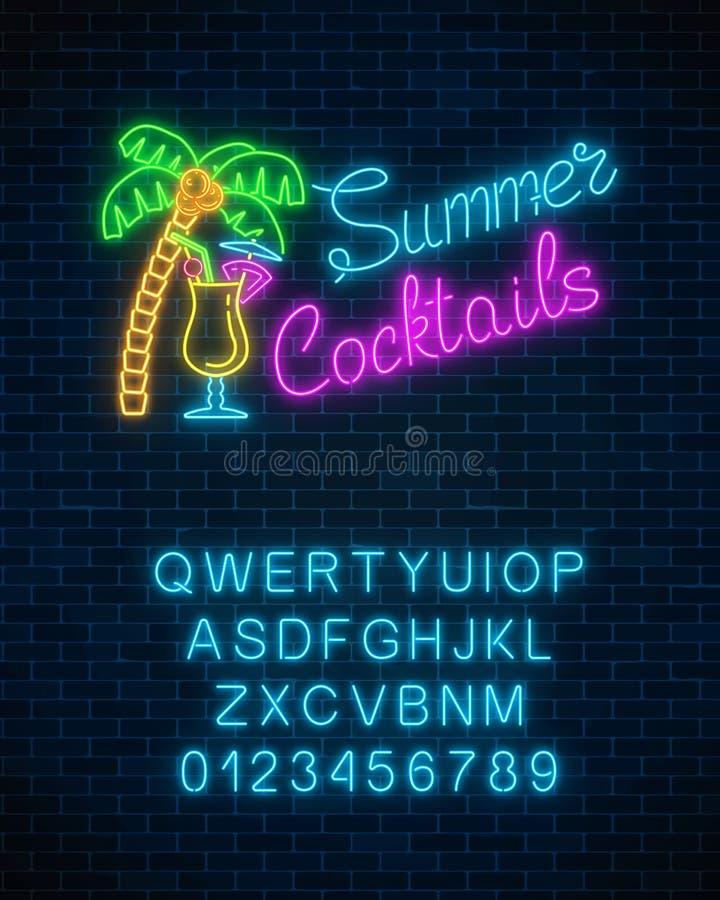 Neonowy lato koktajlu baru znak z abecadłem Rozjarzona benzynowa reklama z pina colada alkoholu palmą i potrząśnięciem ilustracji