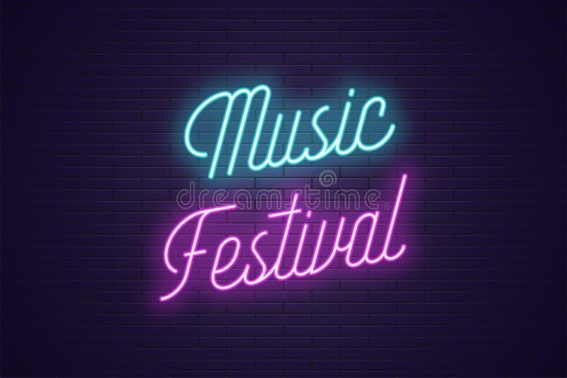 Neonowy literowanie festiwal muzyki Rozjarzony tekst ilustracji