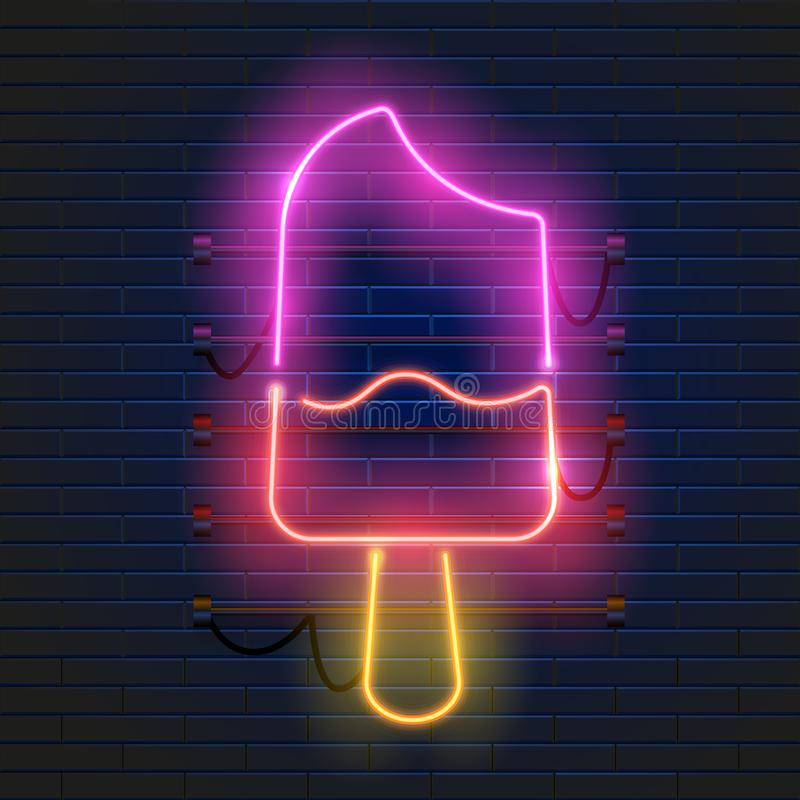 Neonowy lody znak na ciemnym ściana z cegieł tle Rozjarzona lody reklama Noc klubu zaproszenie ilustracji