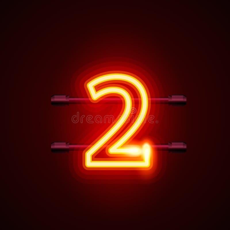 Neonowy miasto chrzcielnicy znak liczba 2, signboard dwa ilustracji