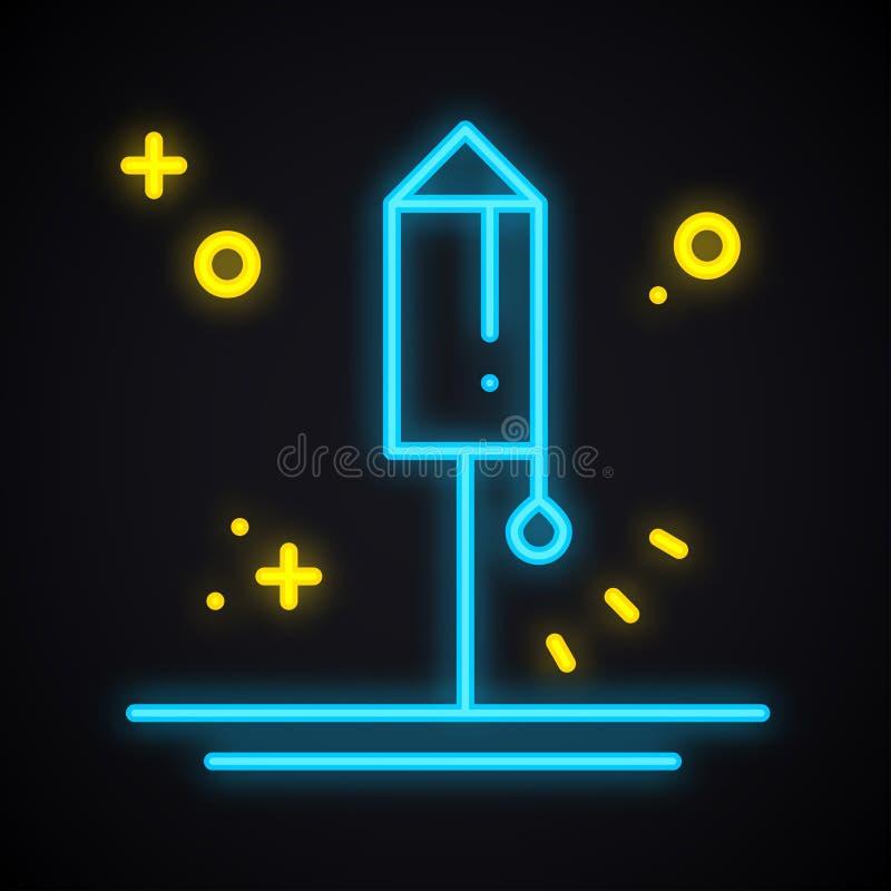 Neonowy oświetleniowy fajerwerk Rozjarzony petarda znak Jaskrawy przyjęcie, salut, urodziny, nowego roku temat ilustracja wektor