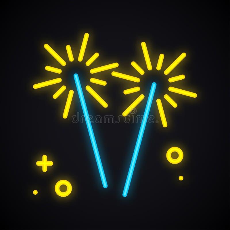 Neonowy oświetleniowy sparkler Jarzyć się Bengal pożarniczego znaka Jaskrawy przyjęcie, świętowanie, urodziny, karnawałowy temat ilustracja wektor