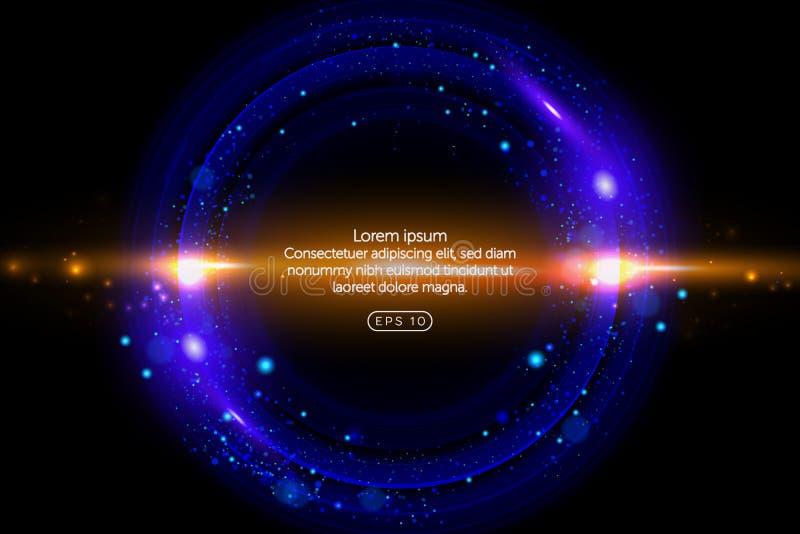 Neonowy okrąg Round rama z jarzyć się i światłem Elektryczny jaskrawy 3d obwodu sztandaru projekt na zmroku - błękitny tło neon ilustracji