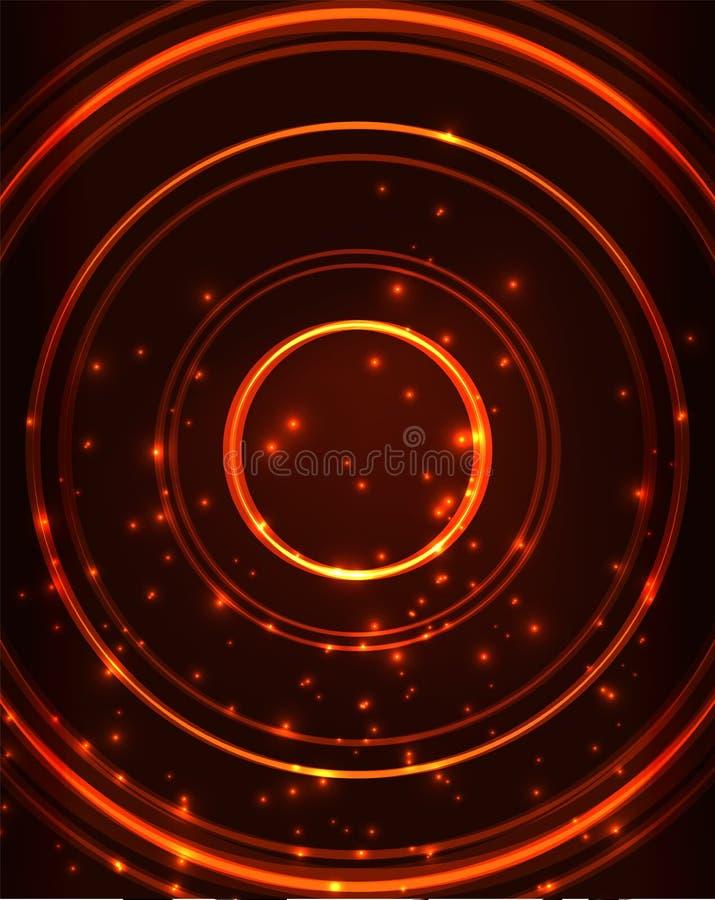 Neonowy okręgu abstrakta tło ilustracji