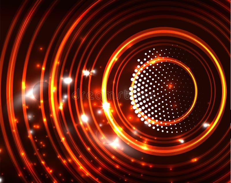 Neonowy okręgu abstrakta tło ilustracja wektor