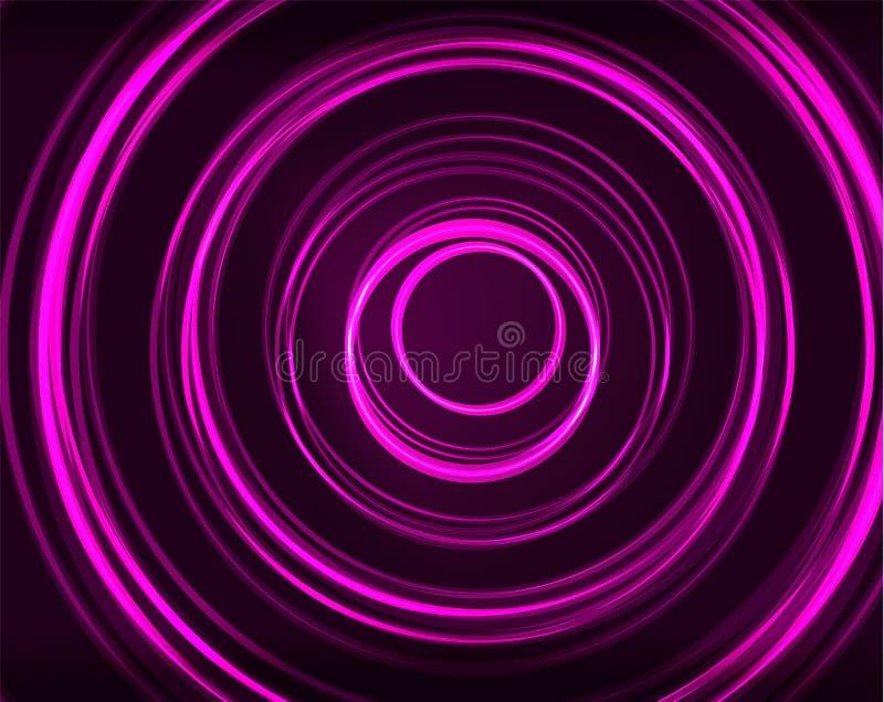 Neonowy okręgu abstrakta tło royalty ilustracja